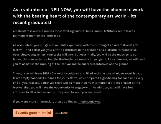 Volunteer copy, resulting in twice the number of applicants